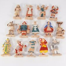 Set of 14 Vtg Around the World Plastic Figures - Painted Costumes Country Names