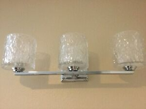 Crystal Vanity Lights for Bathroom 3 Lamp Spa Wall Bar Fixtures Chrome Sconce