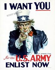 Wall Art Poster of 1917 WWI US Army  Uncle Sam Wants You  11x14