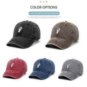 Unisex Adults Fist Embroidery Baseball Cap  Outdoor Sport Washed Cotton Sun Hat