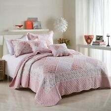 Shabby Chic Pink Floral Patchwork Queen King Coverlet Bedspread Set Quilted