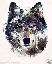 WOLF WOLVES HEAD A5   IRON ON T SHIRT TRANSFER LIGHT GARMENTS