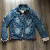 Vintage Womens Warm Jean Jacket Jeans Size Medium M Button Blue Trucker Punk