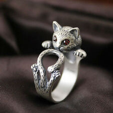 Retro Silver Color Red Eye Lucky Cat Open Adjustable Ring Creative RING SOL