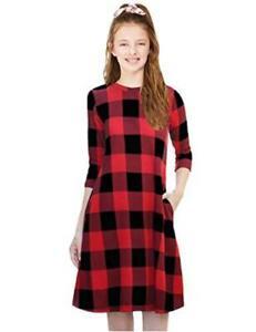 KYMIDY Girls 3/4 Sleeve Buffalo Check Plaid Dress Kids Casual, 1red, Size 10.0