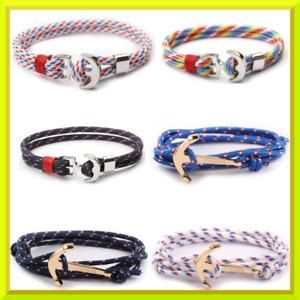 Bracelet pour homme femme corde cordon ancre inoxydable marine tressé Multicolor