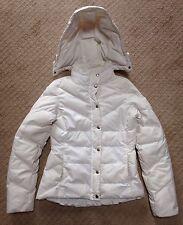 Women's J. Crew White Down Puffer Jacket Coat w/Detachable Hood-Size Small