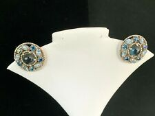 Barclay Round Silver Toned Clip Earrings Blue Rhinestones and Cabochon Center