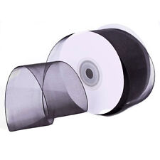 "1/4"" Plain Sheer Organza Nylon Ribbon 25 Yards - Black"