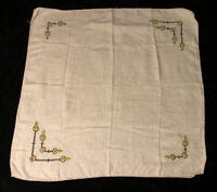 "Vintage Embroidered Linen Centerpiece Tablecloth 31"" x 31"""
