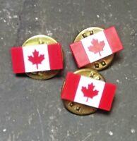 MAPLE LEAF CANADA FLAG TIE TAC LAPEL HAT PIN MINI PLASTIC LOT VINTAGE RETRO