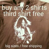 Neil Young t shirt Crazy Horse Gibson Les Paul Rock legend dk brown