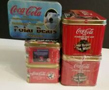 Coca Cola Metal Collector Cards 5 Sealed Tins Polar Bears Coke Around The World