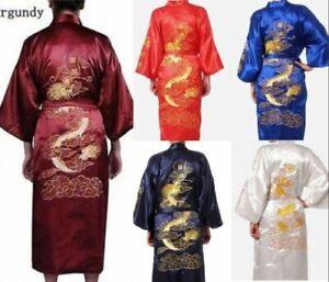 Men's Womens Satin Japanese Chinese Kimono Dressing Gown Bath Robe Nightwear