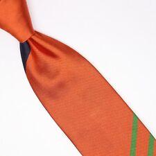 John G Hardy Mens Silk Necktie Large Scale Regimental Stripe Orange Black Green