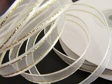 "25 yards Roll 3/8"" Organza Wedding Ribbon/Gold Trim/gift/favors/Craft R11-White"