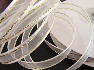 "25 yards Roll 3/8"" Organza Wedding Ribbon/Gold Trim/gift/favors/Craft R11-White"