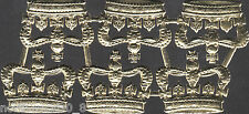 CROWN GOLD LARGE KING QUEEN ROYAL PAPER DRESDEN GERMANY DIECUT EMBOSSED FOIL