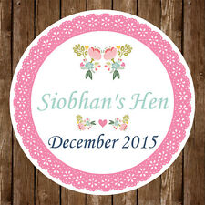 12x Personalised Hen Do Party Bridal Shower 60mm Round Stickers Gift Bag Favours