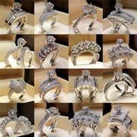 2PCS 925 Silver White Topaz Wedding Proposal Rings Set Couple Jewelry Size 5-10