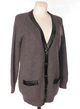 SPORTMAX CODE MAX MARA Women's Chunky Ribbed Knit Wool Grey Button Cardigan M
