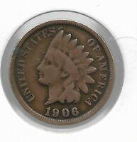 Rare Very Old Antique US 1906 Indian Head Penny USA Collection Coin Cent LOT:V54