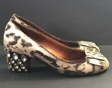 LANVIN Animal Print Jeweled Heels Pumps Size 6.5 / 36.5 Beige Brown ITALY