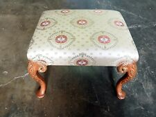 WOOD BENCH WITH RUBBED GOLD BRUNSCHWIG FABRIC