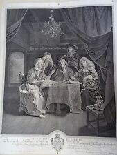 RARE JEAN GEORGES WILLE EAU FORTE ET BURIN XVIII LE CONCERT DE FAMILLE