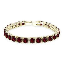 Gold Tone over Silver Created Ruby 6mm Round-cut Classic Tennis Bracelet