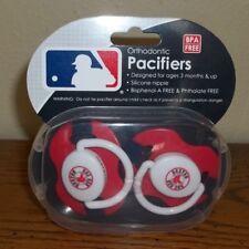 2 NEW Boston Red Sox Orthodontic Pacifiers w/Case MLB Baseball  BPA FREE    LQQK