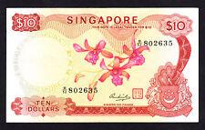 Singapore ND 1973 $10 P. 3d Crisp VF Note Prefix B/52