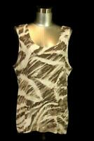 womens brown print CHICOS TRAVELERS 3 scoop neck stretch knit tank top shirt XL