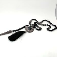 "28"" Round Onyx Necklace Black Crystal pave Connector"