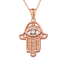 14k Rose Gold Chic Hamsa Evil Eye Pendant Necklace