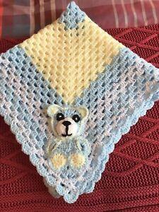 "Hand Crochet Baby Shawl, Sz29""x29"", Blue/white,lemon,Bear Appliqué, New & Fab"