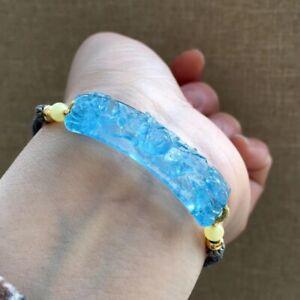 48*13*7mm Natural Blue Aquamarine Gemstone Rope Beads Bracelet AAA