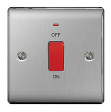 BG Nexus 45A DP Switch With Indicator Brushed Stainless Steel