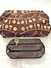 Estee Lauder Cosmetic Case and Smaller Case brown patent leather