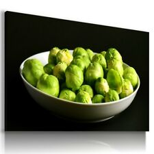 BRUSSELS SPROUTS FRUITS VEGETABLES KITCHEN Canvas Wall Art Picture F93 MATAGA