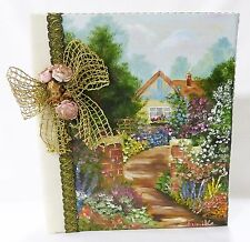 Vintage Hand made photo album landscape oil painting fabric cover sign fumiko