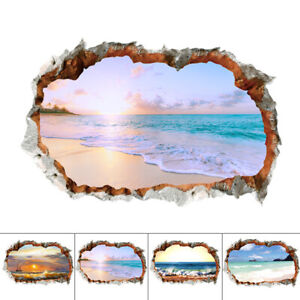 3D Wall Sticker Beach View Removable Home Decal Art Room Decoration Craft
