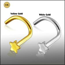 14k Carat Gold Star Nose Screw White Or Yellow Gold Nostril Pin Stud 20g 6mm
