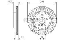 1x BOSCH Disco de freno delantero Ventilado 294mm 0 986 479 C91