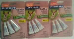 New 3 packs Hartz Ultra Guard Ear Mite Treatment for Dogs