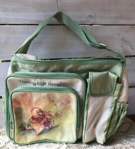 Vtg Dolly Disney Baby Winnie The Pooh Green Diaper Bag Bottle Tote 2007