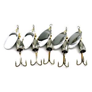5PCS Spinnerbaits Spoon Bait 6.5cm/8.5g Metal Crankbait Fishing Lures Blade Bass