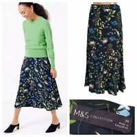 M&S COLLECTION Womens Navy Floral Pattern A-line Skirt NEW RRP £35