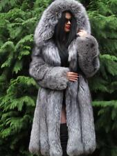 NEW LUXURY FULL PELT SAGA SILVER FOX FUR SWING COAT JACKET LARGE HOOD FUCHS  M