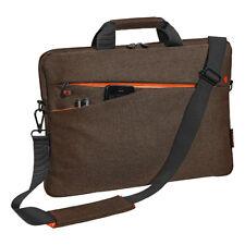 Notebooktasche 17,3 Zoll Laptoptasche mit Zubehörfächer, Schultergurt, braun